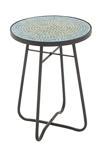 Deco 79 45626 Metal Glass Round Accent Table, 16 x 23 , Turquoise