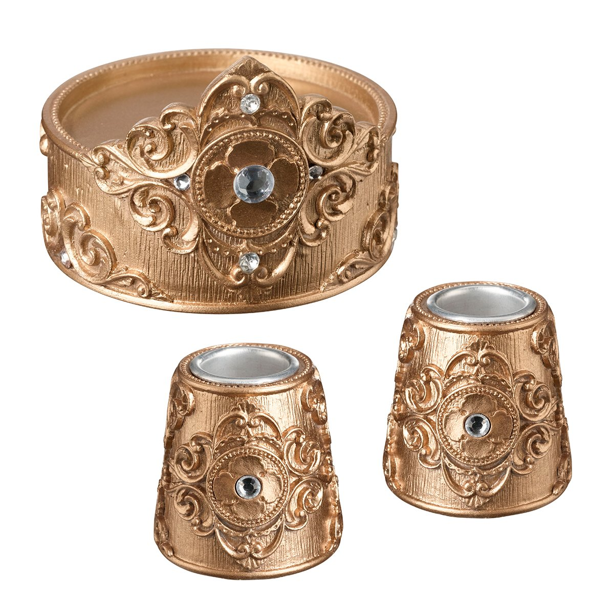 Lillian Rose CH970 G Candle Holders Set, 3.5'' x 3.5'', Gold