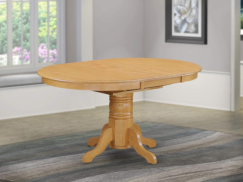 AVT-OAK-TP a Pedestal Oval Table with 18 Butterfly leaf, Oak