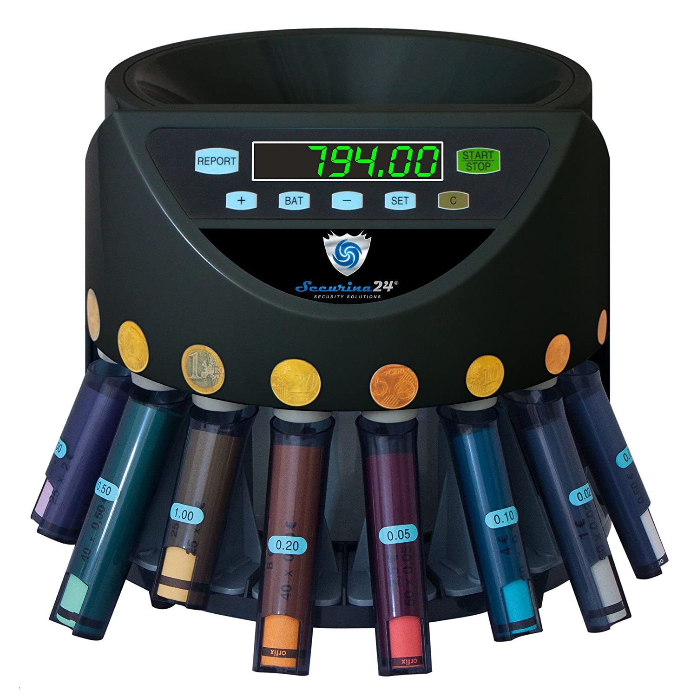 Securina24 Contamonete con funzione di impilamento in blister (black)