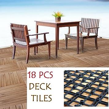 18 losas de madera para decoración de suelos de jardín o patio: Amazon.es: Bricolaje y herramientas