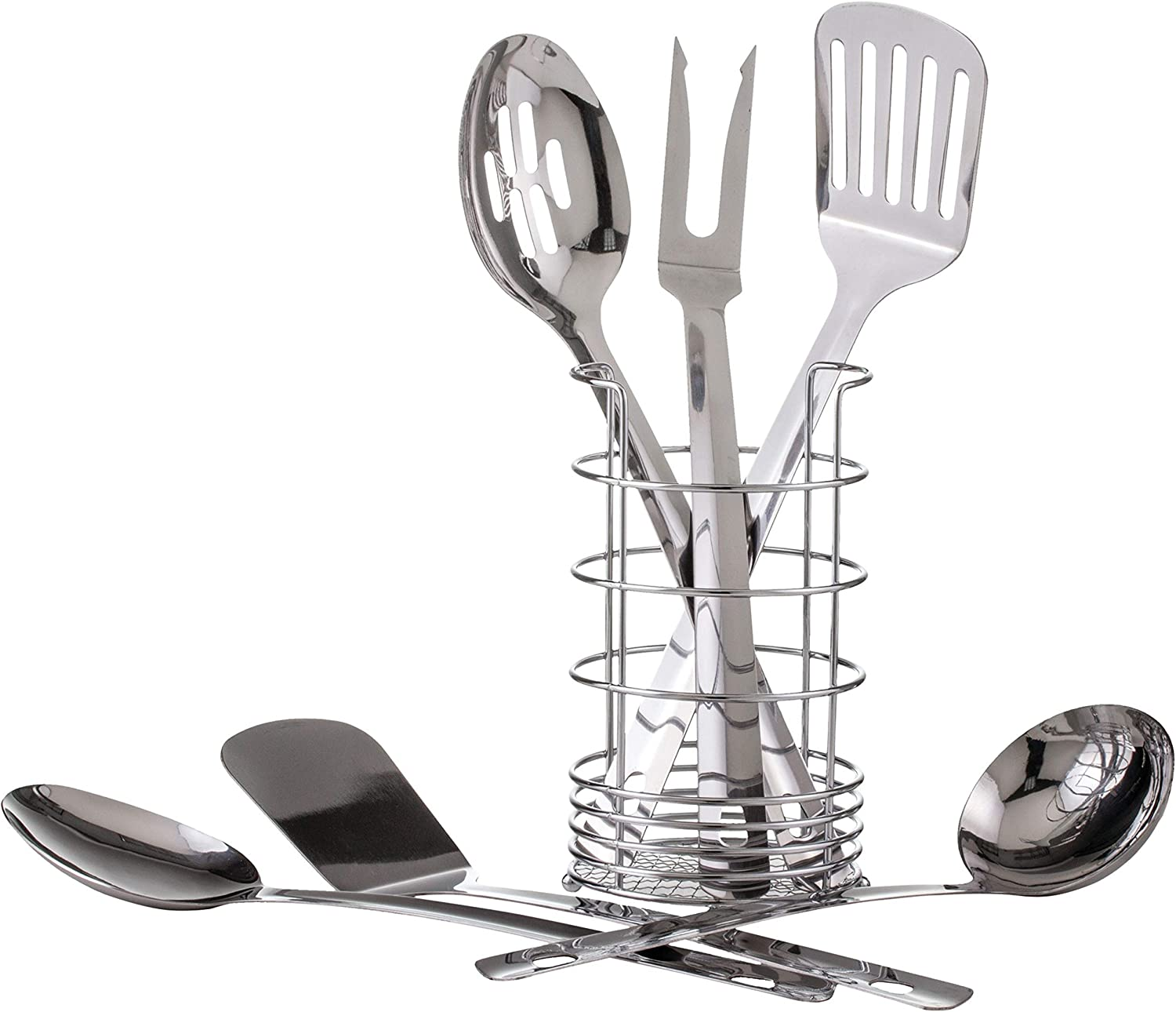 Maxam 7 Piece Stainless Steel Kitchen Tool Set With Meat Fork 2 Spatulas 2 Spoons Ladle And Convenient Wire Storage Caddy Garden Outdoor