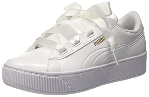 Amazon.com | Puma Women Vikky Platform Ribbon P Low-Top Sneakers, White (Puma White-Puma White 02), 7 UK (40.5 EU) | Fashion Sneakers