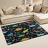 WOZO Funny Dinosaur Palm Leaf Area Rug Rugs Non-Slip Floor Mat Doormats Living Dining Room Bedroom Dorm 60 x 39 inches…