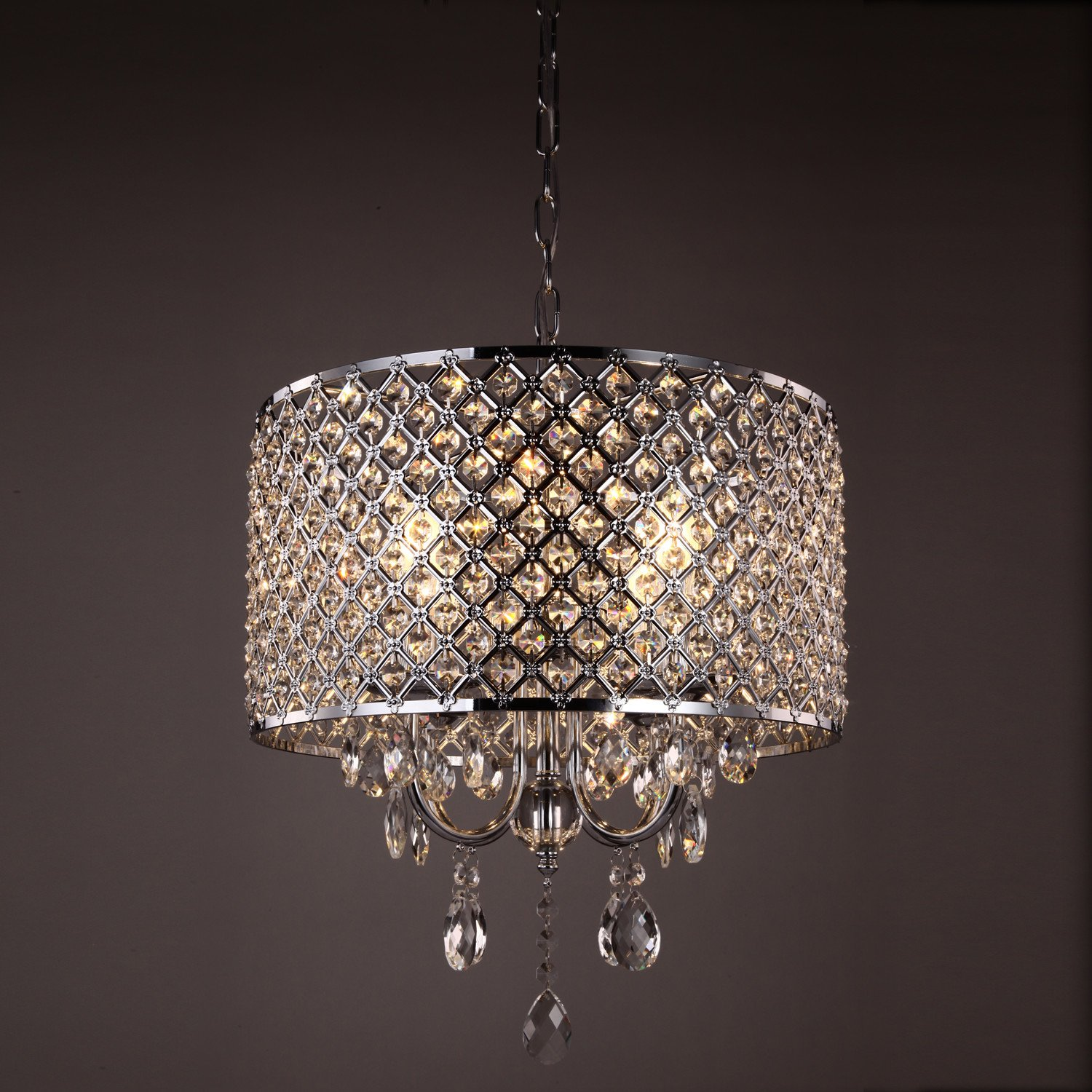 Mirrea crystal chromed chandelier pendant light 4 lights with mirrea crystal chromed chandelier pendant light 4 lights with crystal beaded drum shade amazon lighting aloadofball Images