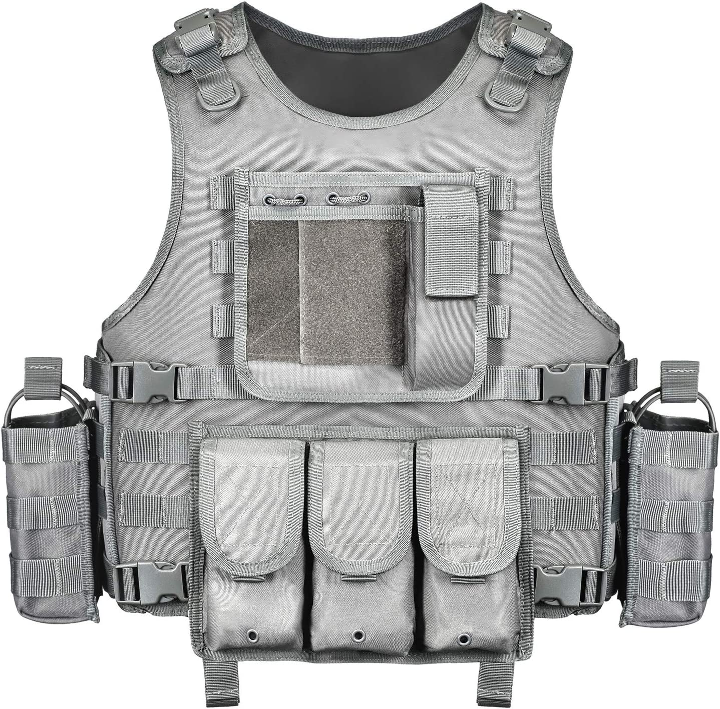 GZ XINXING Black Tactical Airsoft Paintball Vest, Grey color, padded shoulder with buckle locks
