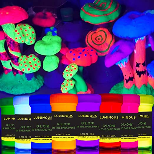 individuall Bright Glow in the Dark Paint - Juego de 8 pinturas de neón autoluminosas - Pintura fosforescente de larga duración - Pintura de neón ...