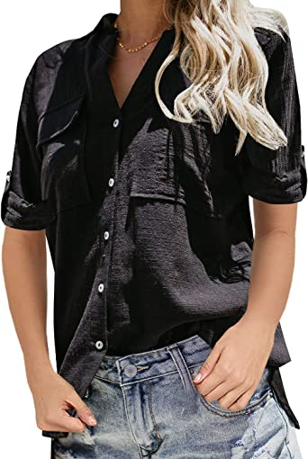 Niitawm Womens V Neck Blouse Shirts Button Down Short Sleeve Casual Loose Collared Tops with Pockets
