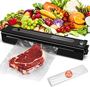 Yoobure Vacuum Sealer Machine, Automatic Food Air Sealing System, Compact Food Saver with Vacuum & Seal Modes, 8X Longer Food Preservation Time, Visual Window, LED Indicator Light, 10pcs Vacuum Bags