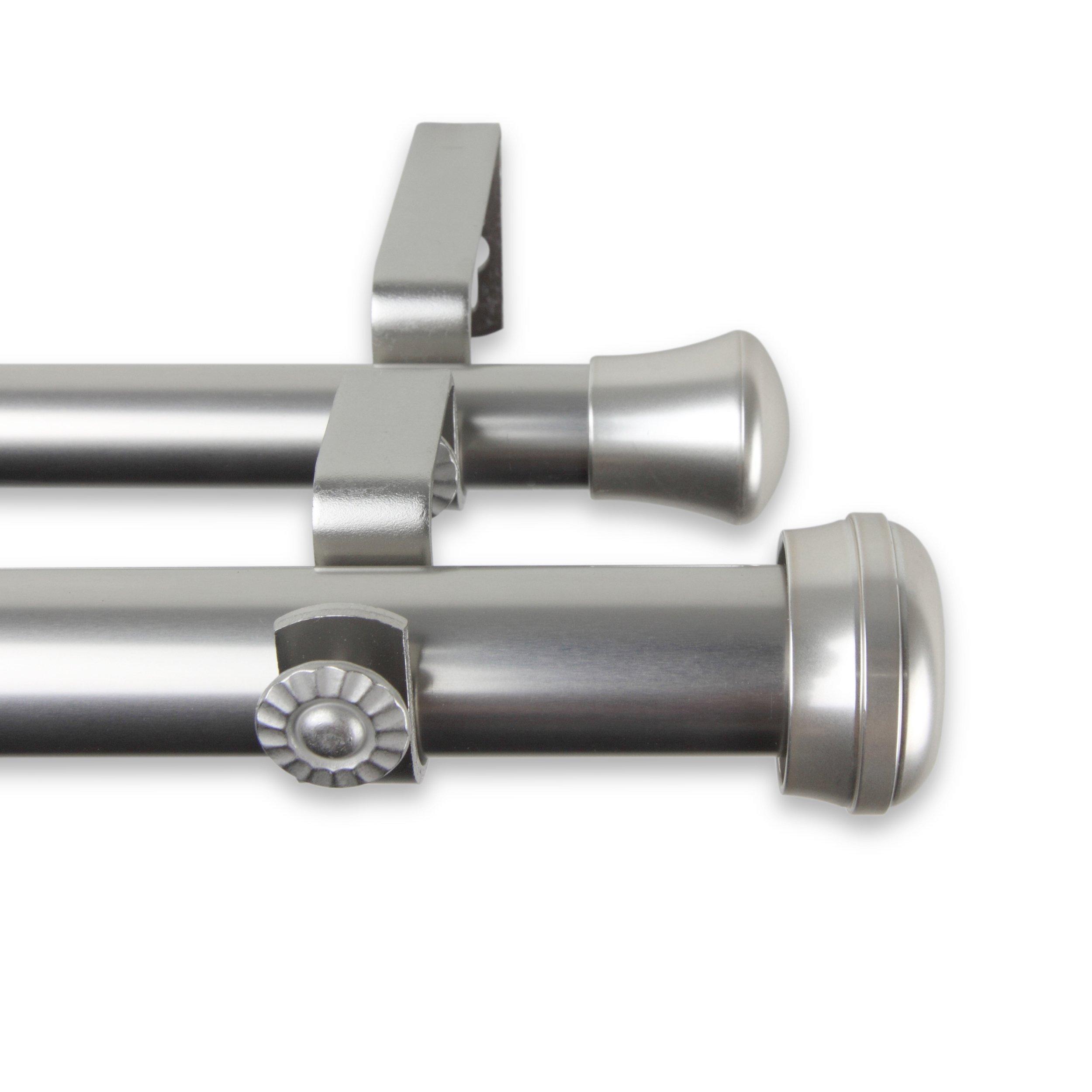A&F Rod Decor - Alloy Double Curtain Rod 1 inch diameter, 160 - 240 inch - Satin Nickel by A&F Rod Decor