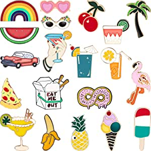 Hicarer 20 Pieces Cute Enamel Lapel Pin Set Cartoon Brooch Pin Badges Brooch Pins for Clothing Bags Jackets Accessory DIY Crafts