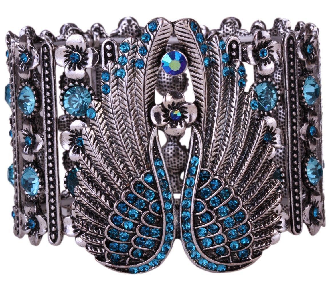 YACQ Jewelry Women's Crystal Angel Wings Stretch Cuff Bracelet