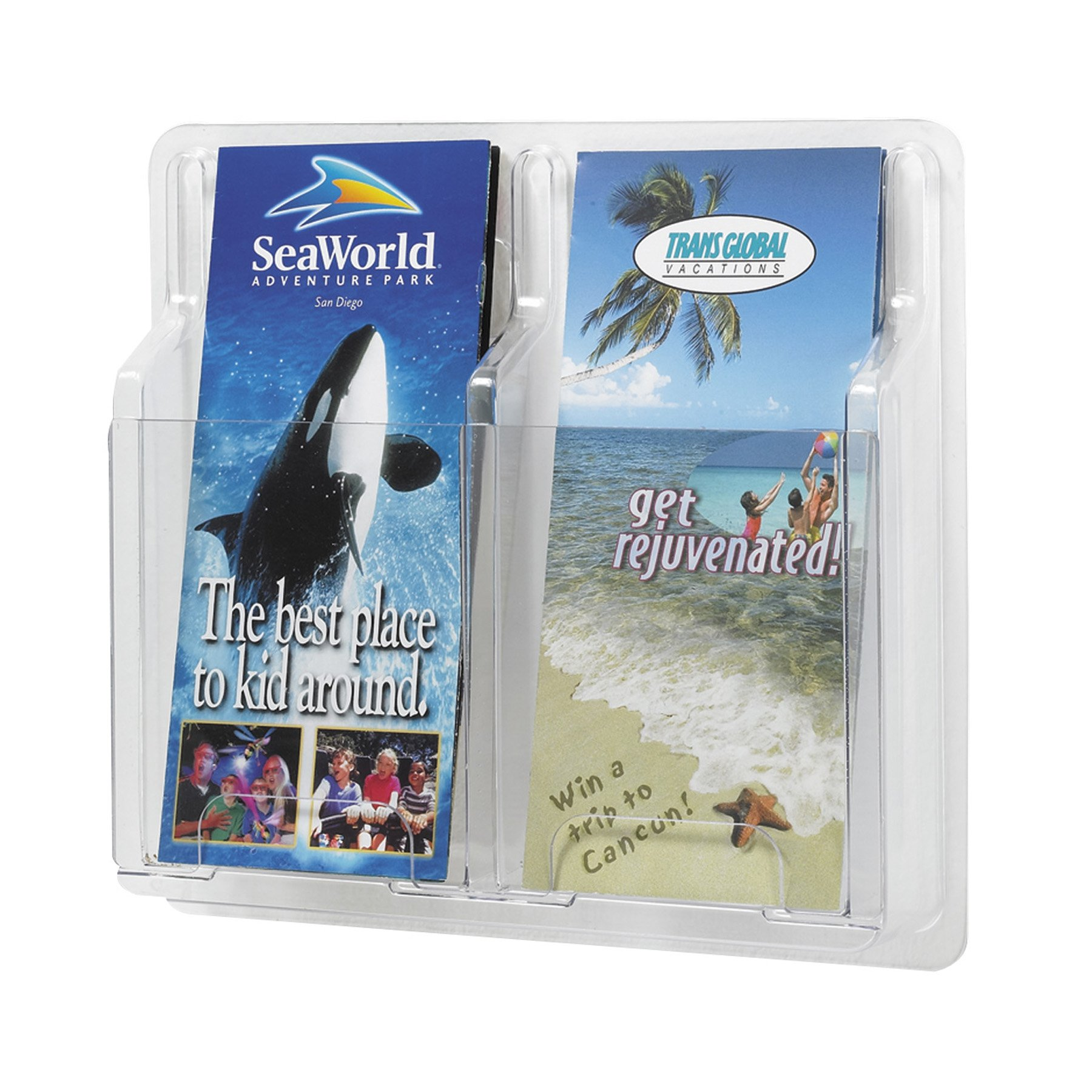 Safco Plastic Literature Display, 2 Pamphlets, 11.25 Inches Width x 10.25 Inches Height, Clear (5623CL)
