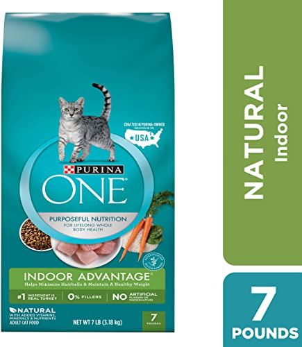 Purina One Hairball, Weight Control, Indoor, Natural Dry Cat Food, Indoor Advantage,- 7 Lb