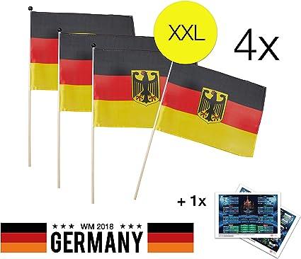 Fahne 4x Deutschlandfahne Fanartikel Deutschland Set 150 x 90 cm Flagge
