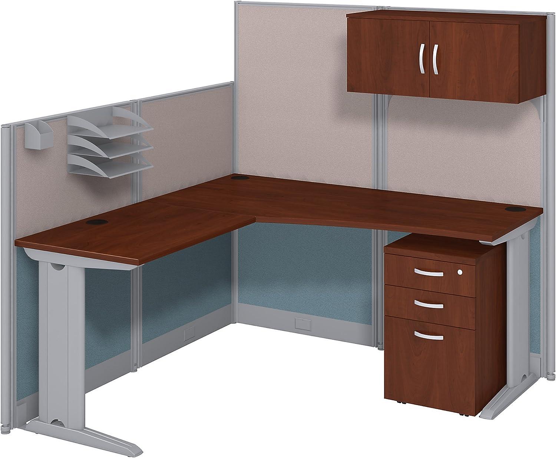 """Bush Business Furniture L-Workstation And Storage Kit, 65"""" x 65"""", Hansen Cherry"""