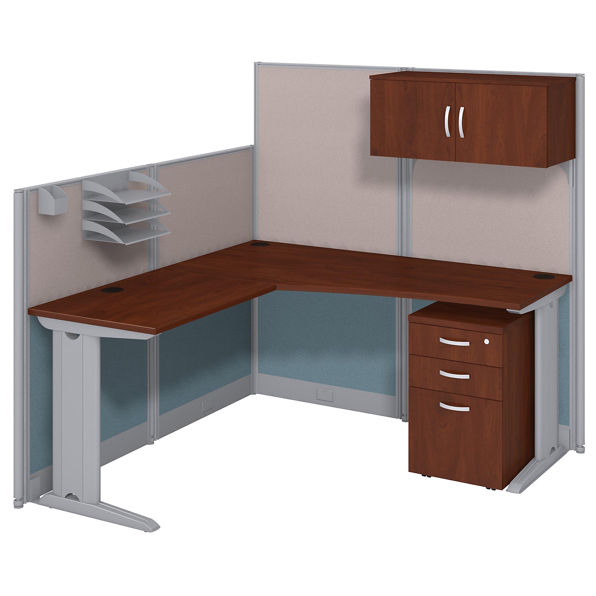 Bush Business Furniture WC36494-03STGK L-Workstation and Storage Kit, 65'' x 65'', Hansen Cherry by Bush Business Furniture