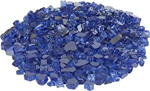 Fire Sense Fire Glass | Sapphire Blue | Reflective and Tempered | Heat and Fade Resistant | 10 Pound | Half Inch Crushed Rocks with Plastic Container | Accessories for Gas Firepit, Outdoor and Propane