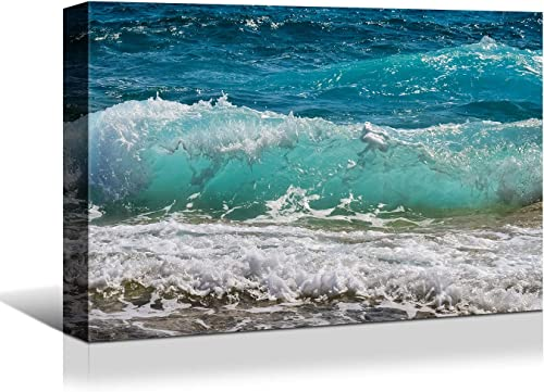 Looife Seascape Canvas Prints Wall Art-48×32 Inch Sea Waves on the Beach Picture Wall Decor