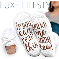 """""""If You Can Read This Bring Me Some Tea! """" - Funny Socks Cupcake Gift Packaging - Thermal Fuzzy Warm Cotton Perfect Gift For Wife Women Hostess Housewarming Novelty Romantic Birthday Present Tea Lover"""