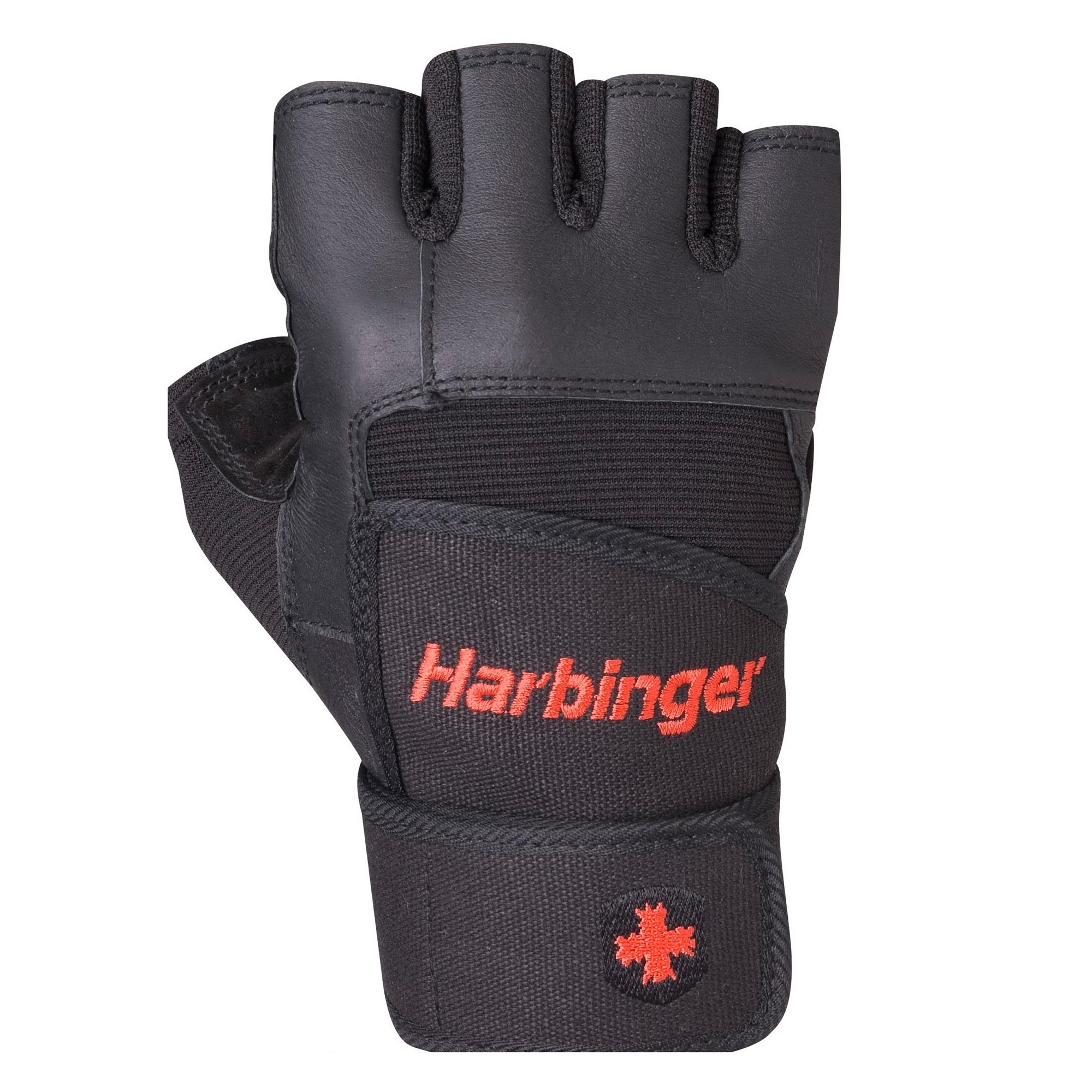 Harbinger Pro Wristwrap Weightlifting Gloves with Vented Cushioned Leather Palm (Old Style), Medium