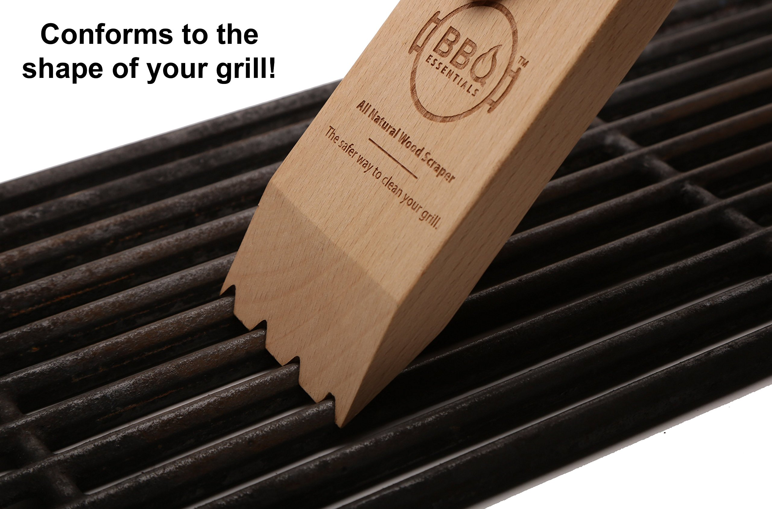 BBQ Essentials All Natural Wood Scraper - Safe, Small, Sustainable Solution to Grill Cleaning by BBQ Essentials (Image #3)