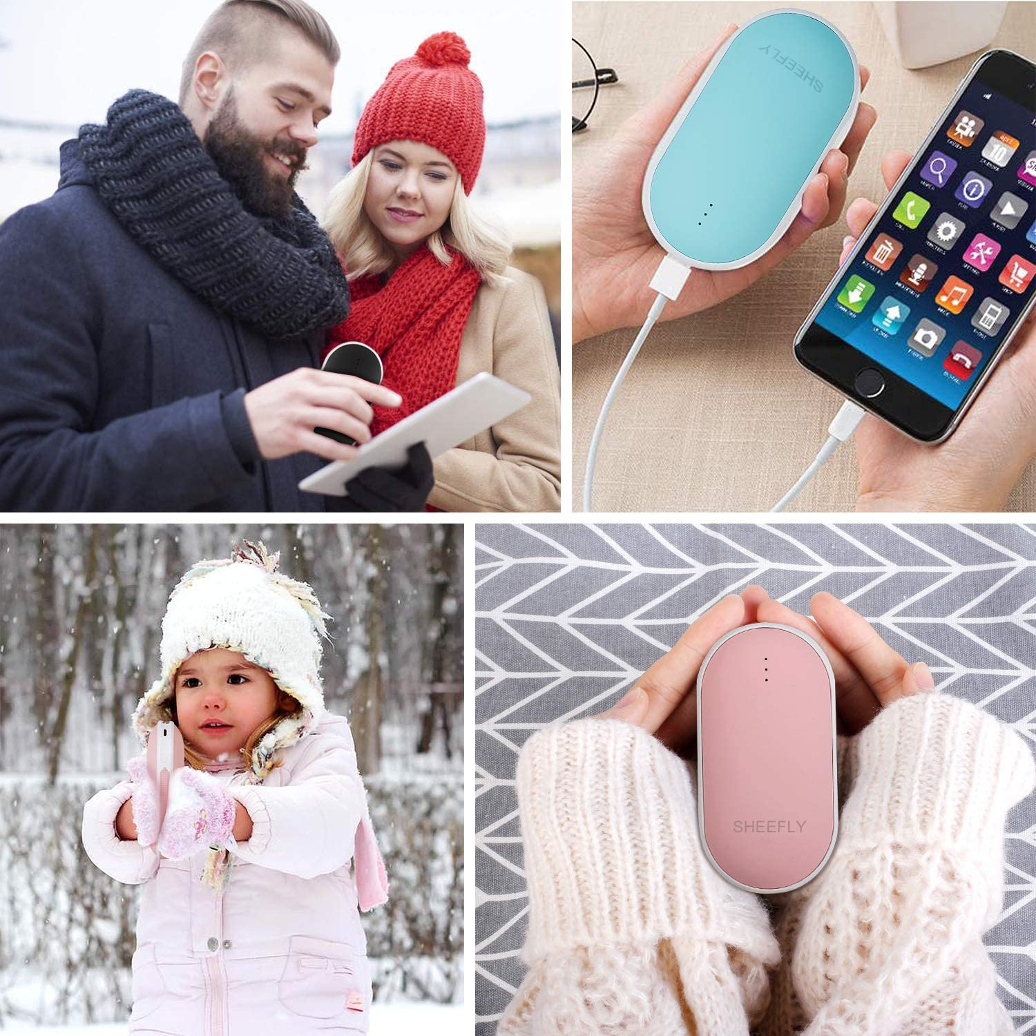 Winter Gifts for Women /& Men SHEEFLY Hand Warmers Rechargeable Power Bank 5200mAh Electric Portable Pocket Hand Warmer Heat Therapy Great for Outdoor Sports