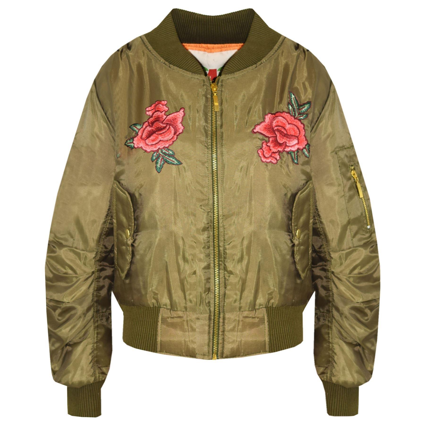 A2Z 4 Kids® Girls Jacket Kids Roses Print Bomber Padded Zip Up Biker Jackets MA1 Coat 5-13 Y by A2Z 4 Kids®