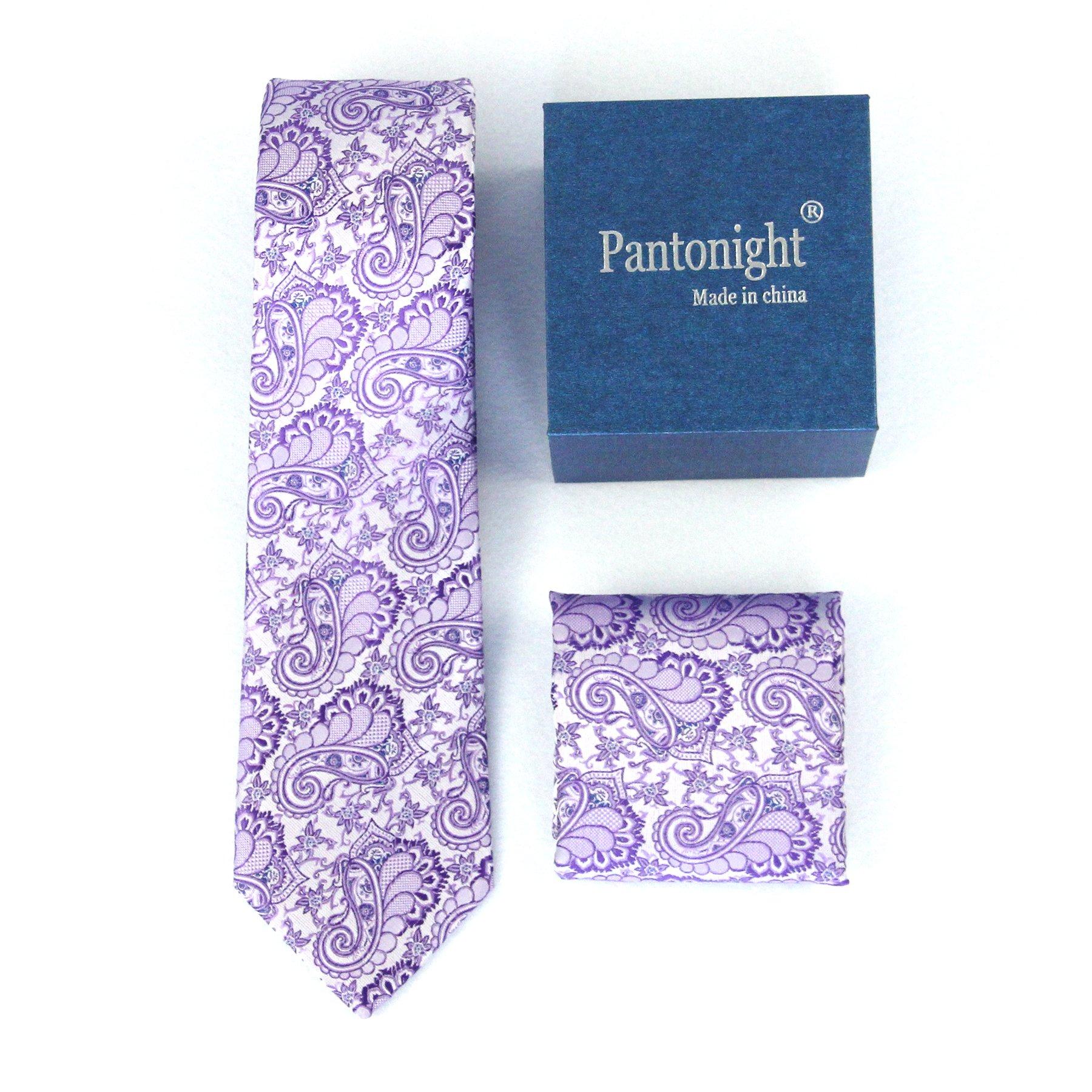 Woven Classic Ties for Men + Pocket Square Set - Jacqured Necktie Hanky Set - Mens Ties Neck Tie +gift box Multi Colors (purple paisley 133)