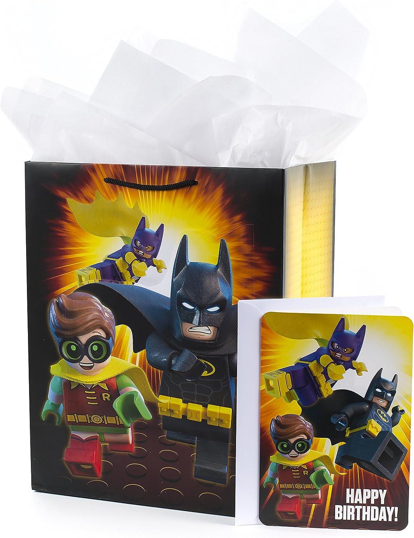 "Hallmark 13"" Large Batman Gift Bag with Birthday Card and Tissue Paper (Lego Batman)"