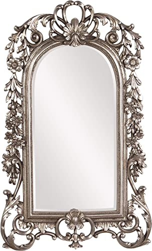 Howard Elliott Sherwood Hanging Accent Wall Mirror, Ornate Arched Antique Silver Resin Frame, 14 x 22 Inch