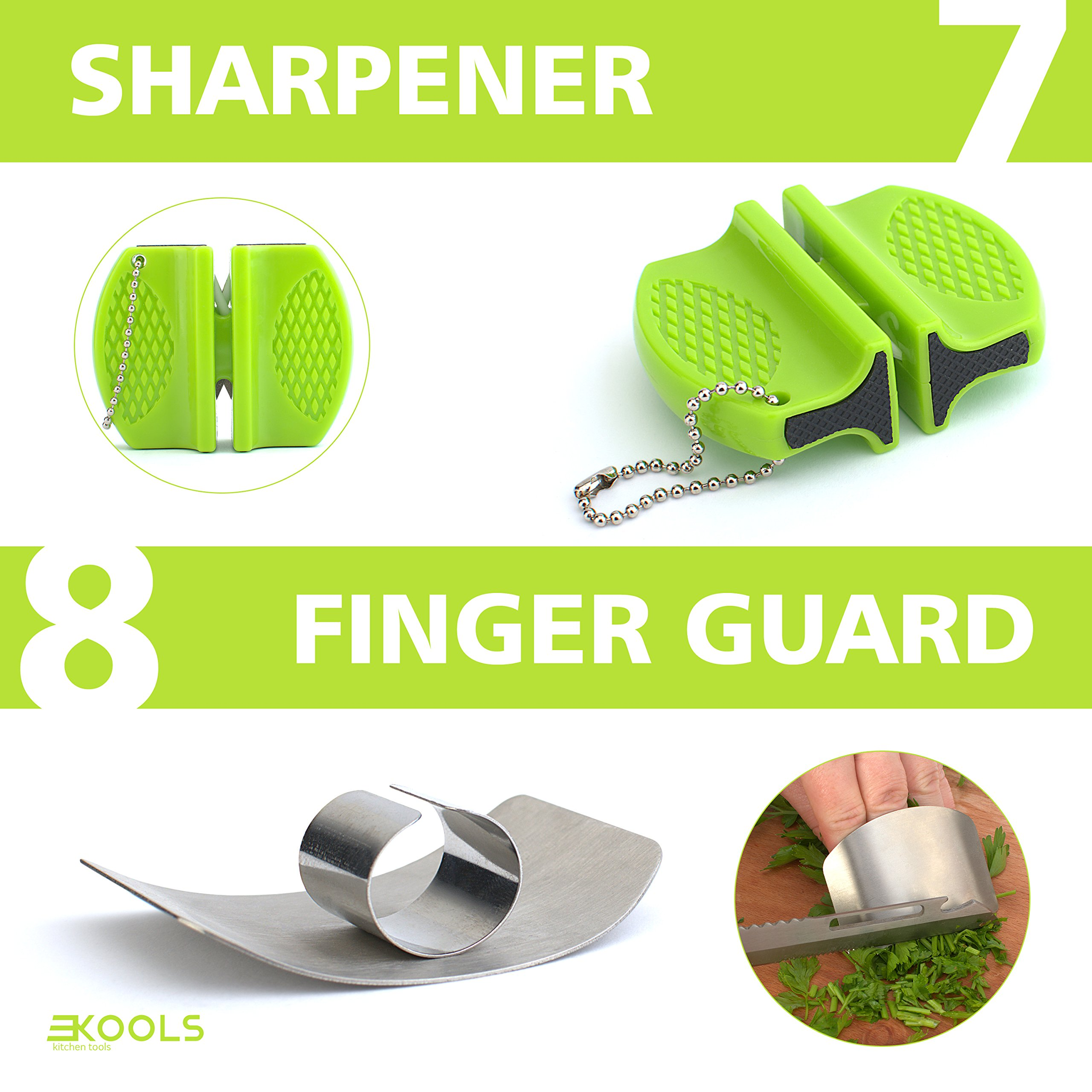 kools Clever 8-in-1 Food Chopper Set - with Chopping Board and Detachable Knife, Ideal as Vegetable and Meat Chopper or Slicer, Bottle Opener, Peeler, including Sharpener and Finger Guard by kools (Image #7)