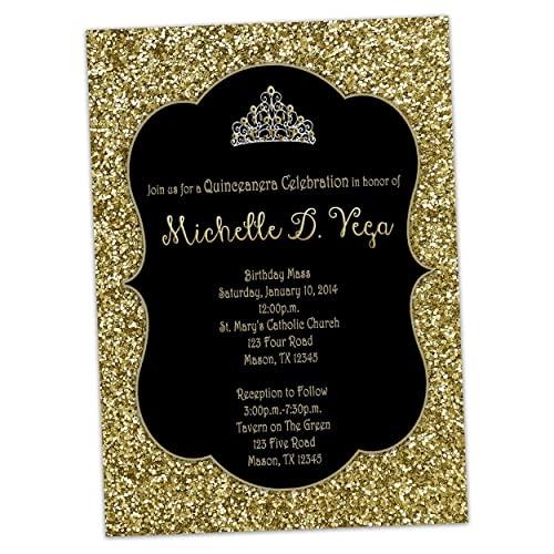 amazon com black gold glitter sweet 16 invitations princess tiara
