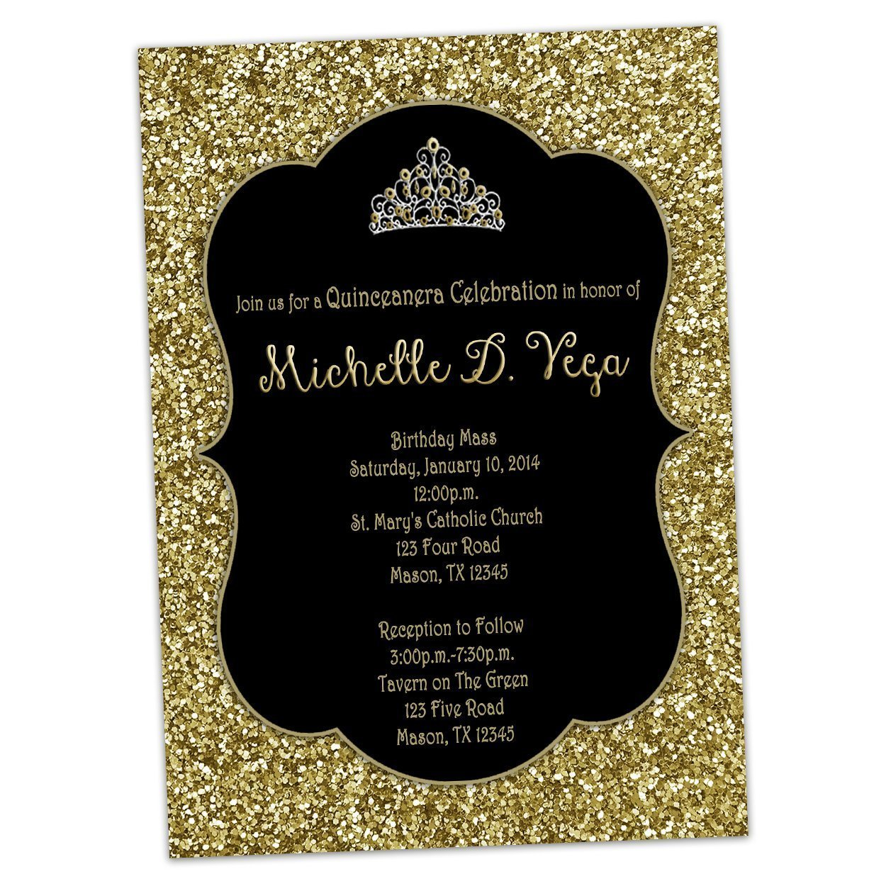 Black Gold Glitter Sweet 16 Invitations Princess Tiara Birthday by Party Print Express