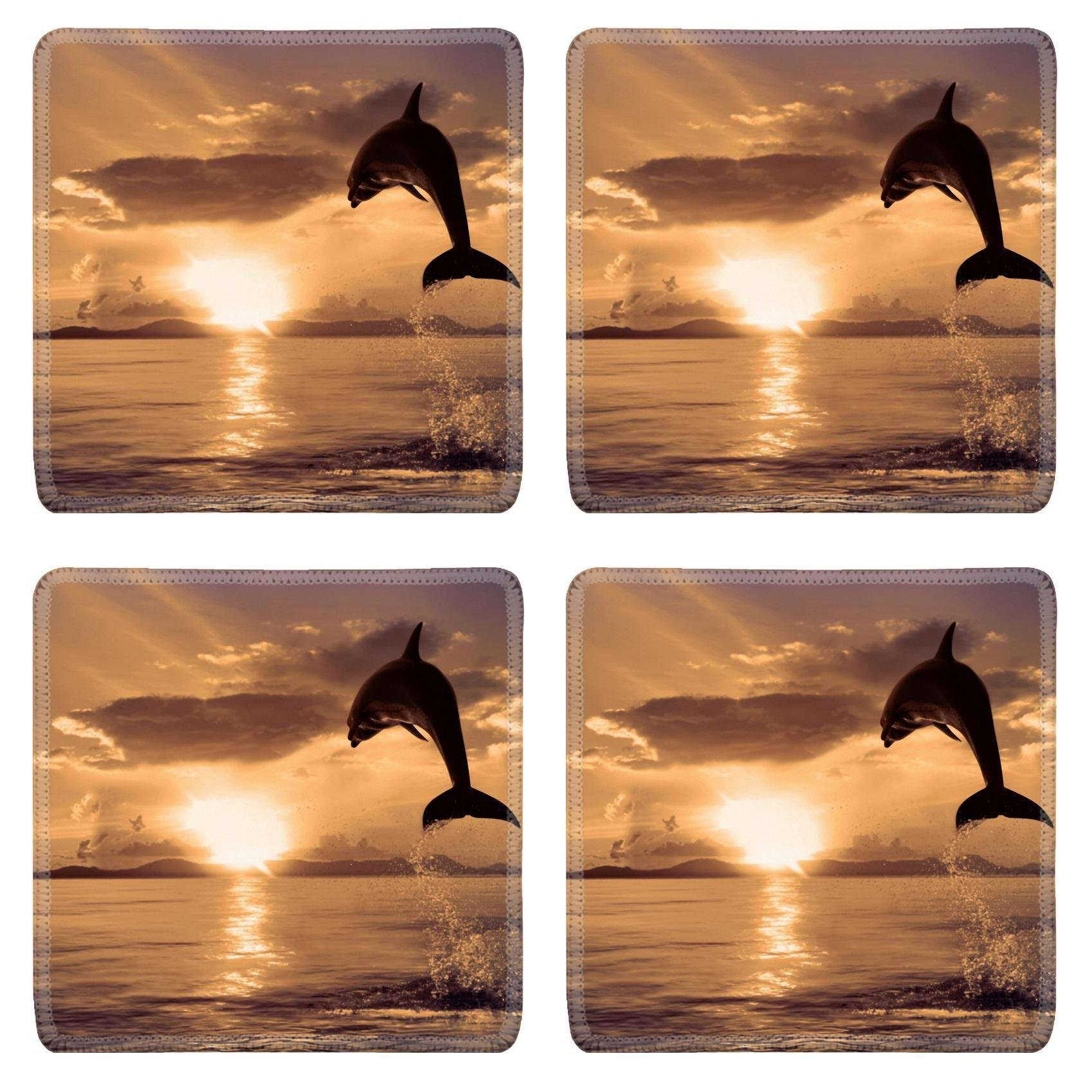 Custom Coaster Set of 4 ,MSD Unique Printed Coaster Cup Mat Design for sea ocean dolphin animal water nature mammal life blue wildlife marine fun sunset wild splash