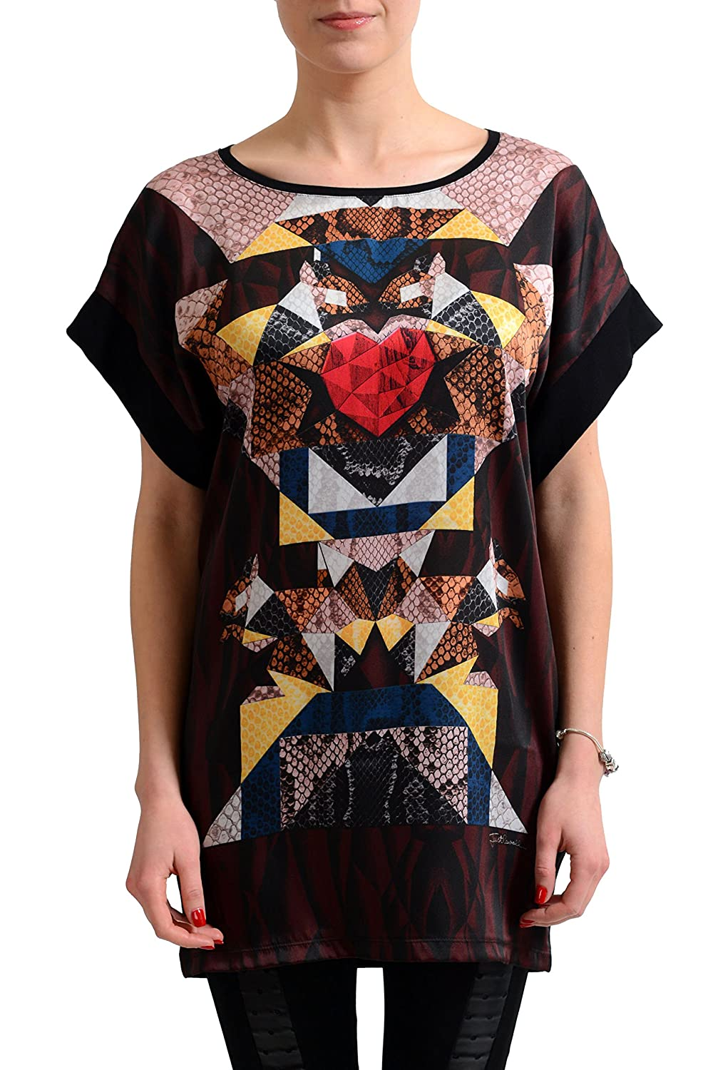 Just Cavalli Women's Multi-Color Short Sleeve Tunic Blouse Top US S IT 40