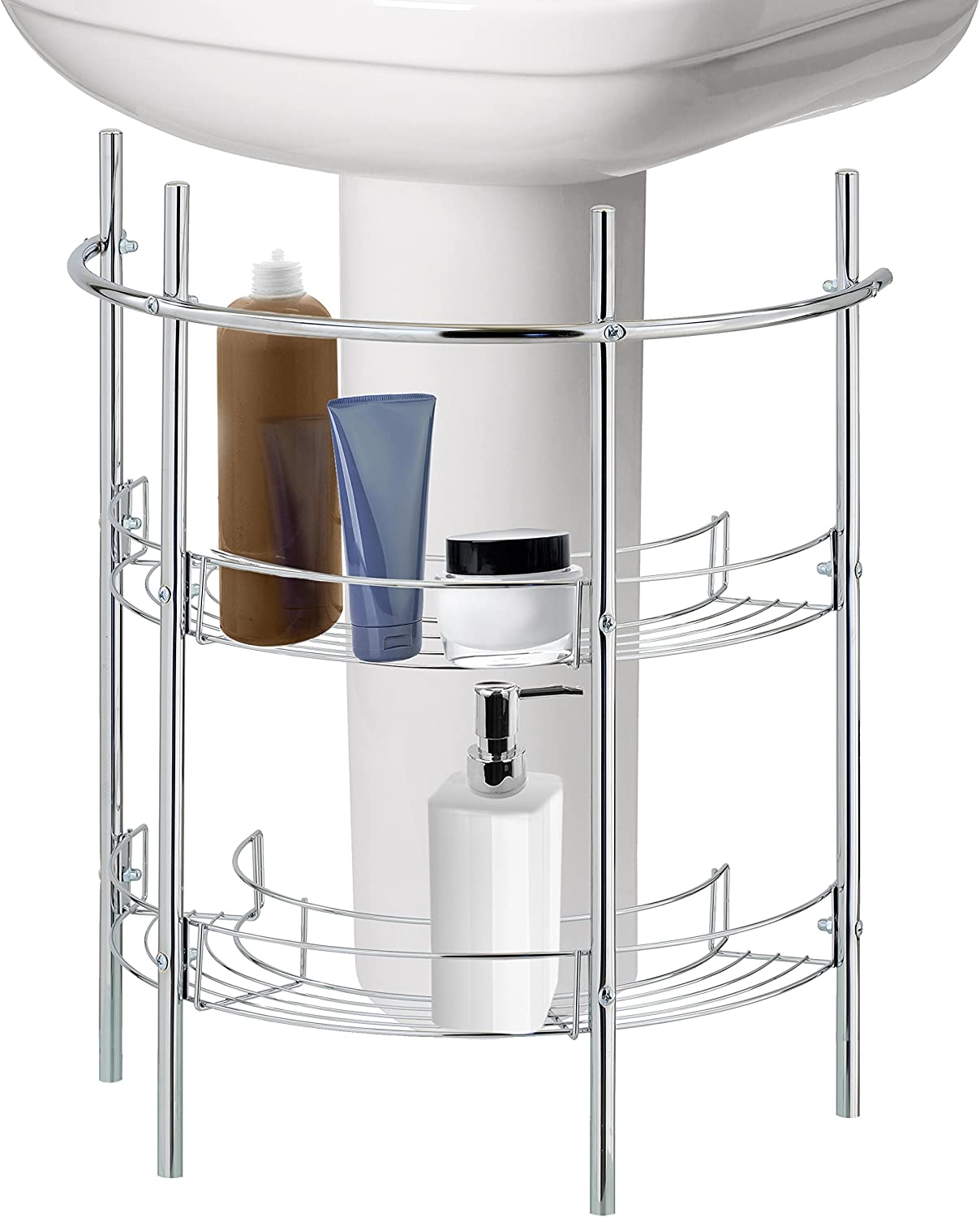 Amazon Com Under The Sink Bathroom Quality Pedestal Storage Rack With 2 Shelves Hand Towel Bar Chrome Plated Kitchen Dining