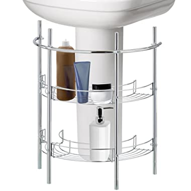 Under-the-Sink Bathroom Quality Pedestal Storage Rack with 2 Shelves & Hand Towel Bar, Chrome Plated