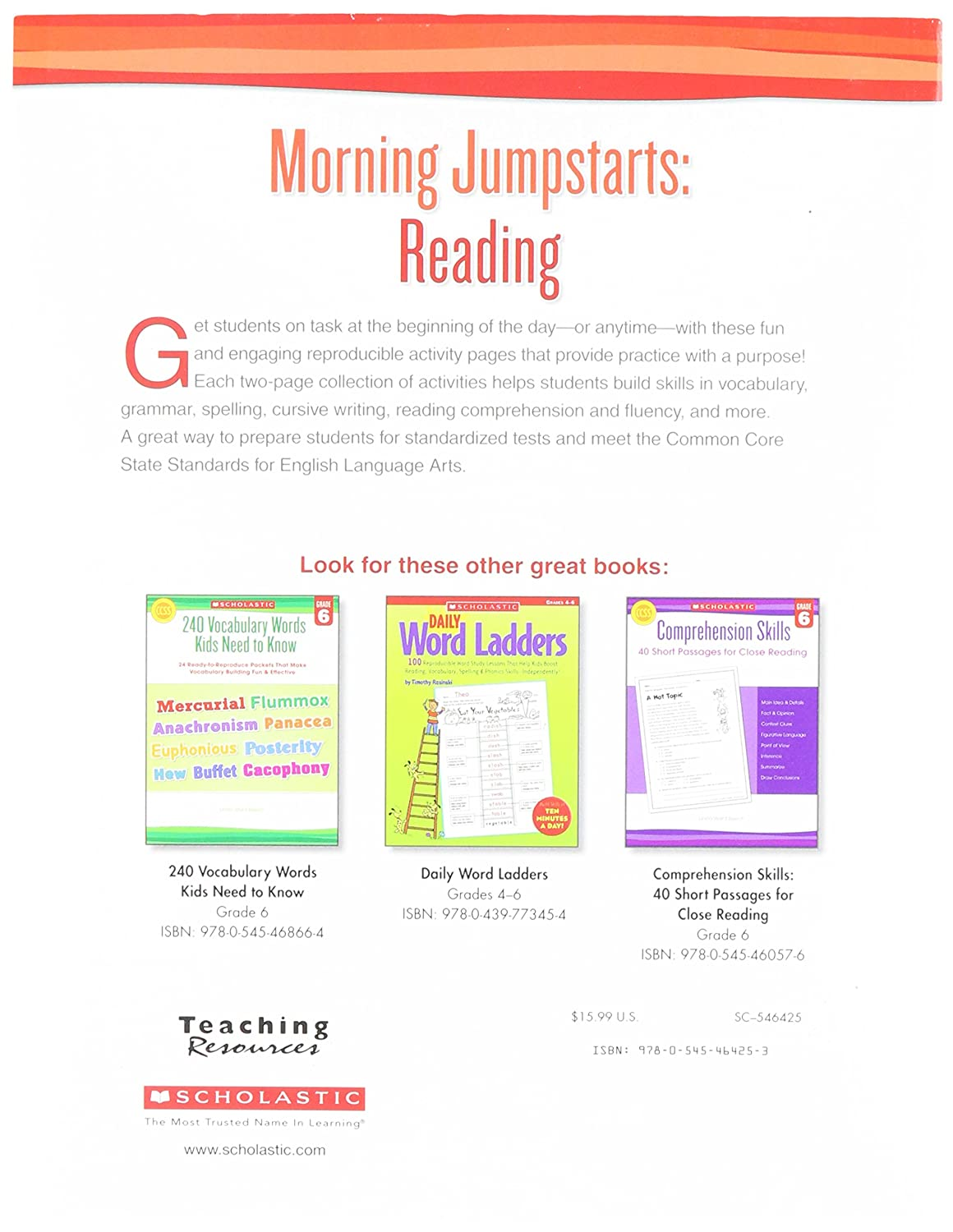 Amazon Com Scholastic 9780545464253 Morning Jumpstarts Reading