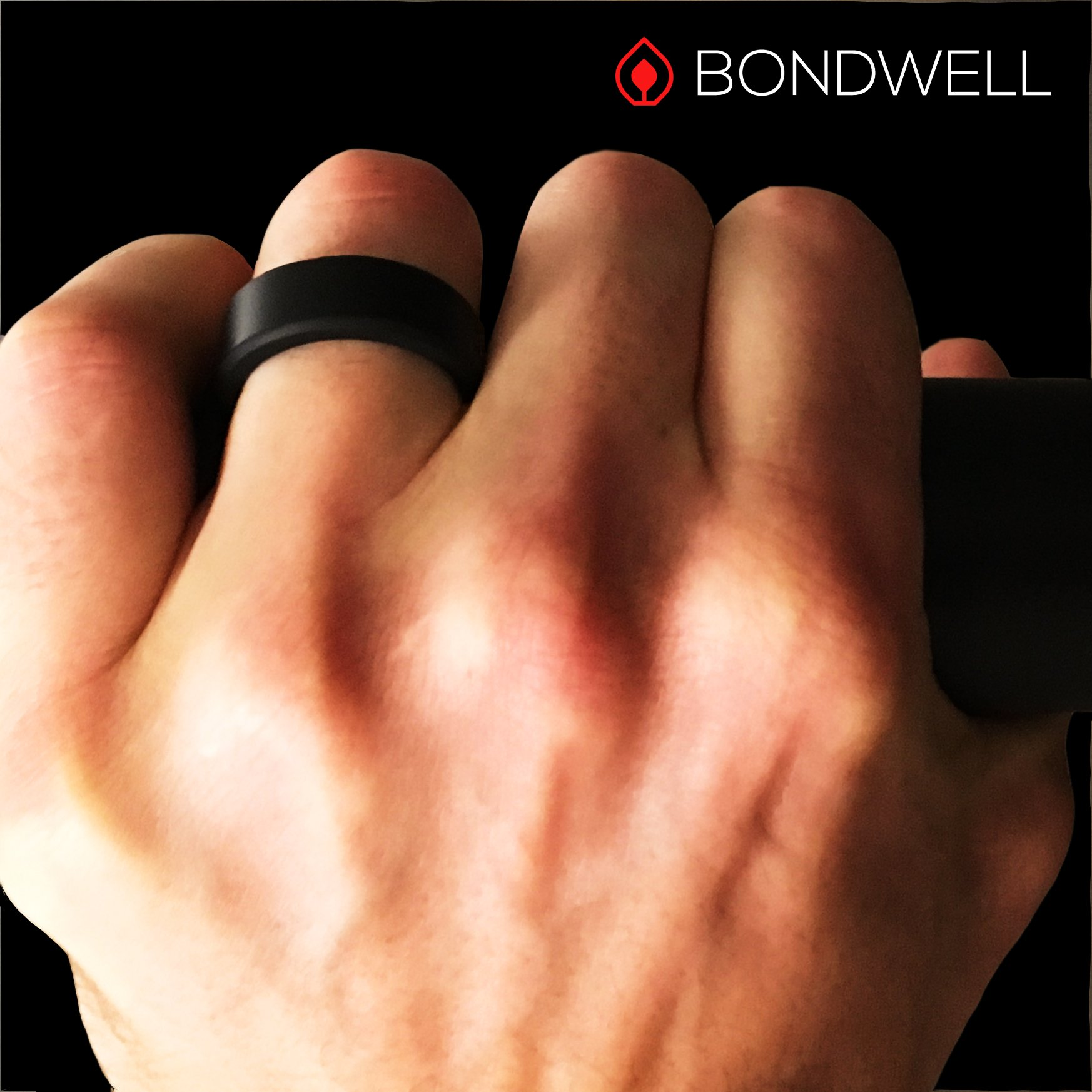 BONDWELL Silicone Wedding Ring for Men (Black) Save Your Finger & A Marriage Safe, Durable Rubber Wedding Band for Active Athletes, Military, Crossfit, Weight Lifting, Workout - 100% Guarantee (11) by BONDWELL (Image #4)