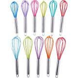 Webake 8-inch and 10-inch Silicone Egg Whisk, 2-Pack (Solid color)