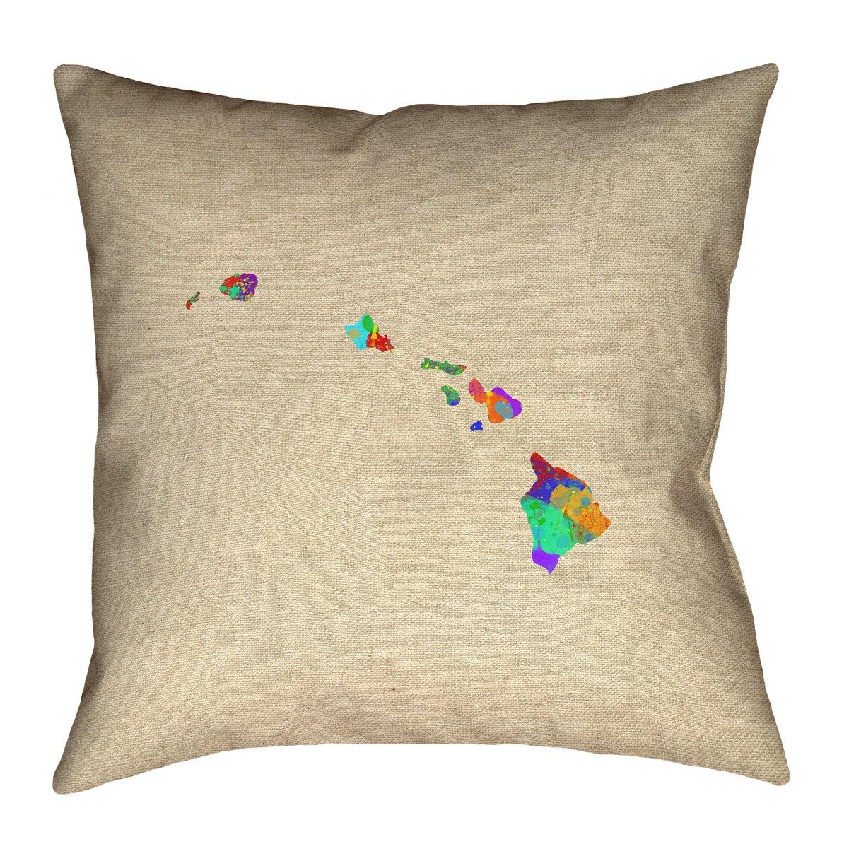 ArtVerse Katelyn Smith Hawaii Watercolor 26' x 26' Pillow-Spun Polyester SMI211P2626A