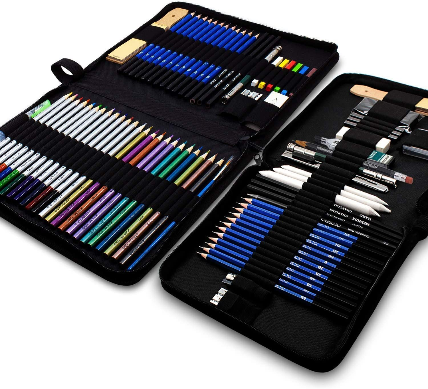 37-Piece Drawing Set PLUS 53-Piece Coloring and Drawing Art Set - With Sketch Pad and Drawing Tutorials Digital Library