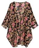OLRAIN Women's Floral Print Sheer Chiffon Loose