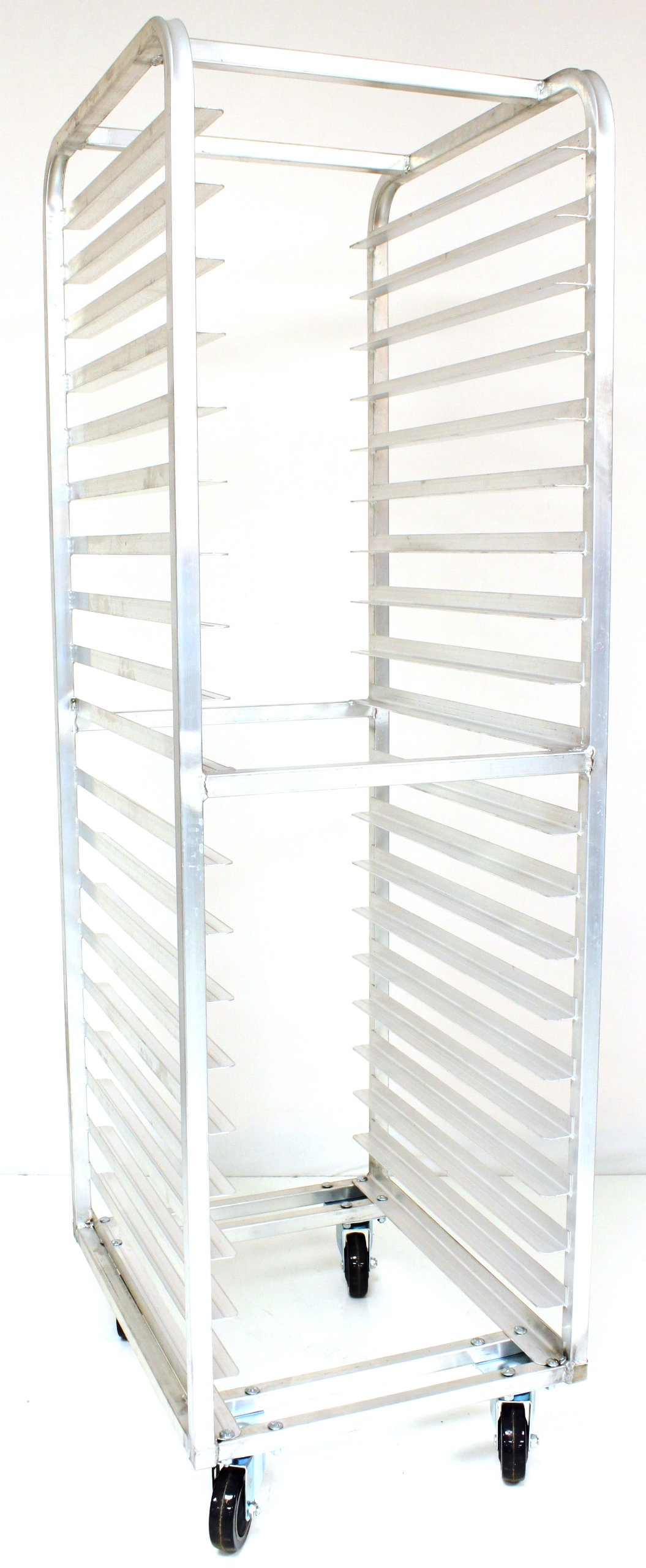 Magna Industries 4612E Standard-Duty Aluminum End-Load Bun Pan Rack with Plate Casters, 20-1/2'' Width x 70'' Height x 26'' Depth, 20 Shelves