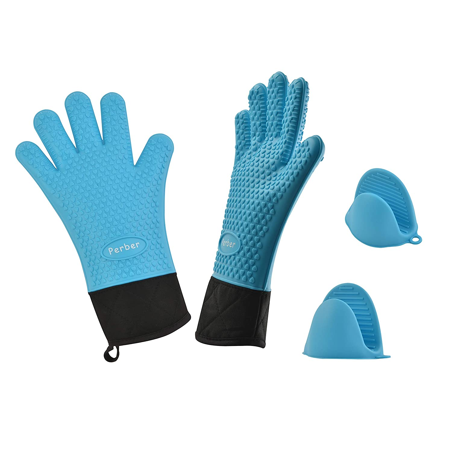 Silicone Cooking Gloves, Grilling Gloves, 1 Pair of Long Heat Resistant Waterproof Pot Holder & BBQ Oven Mitts with 1 Pair of Mini Cooking Pinch Grips, Perfect for Baking Barbecue and Kitchen,BPA Free