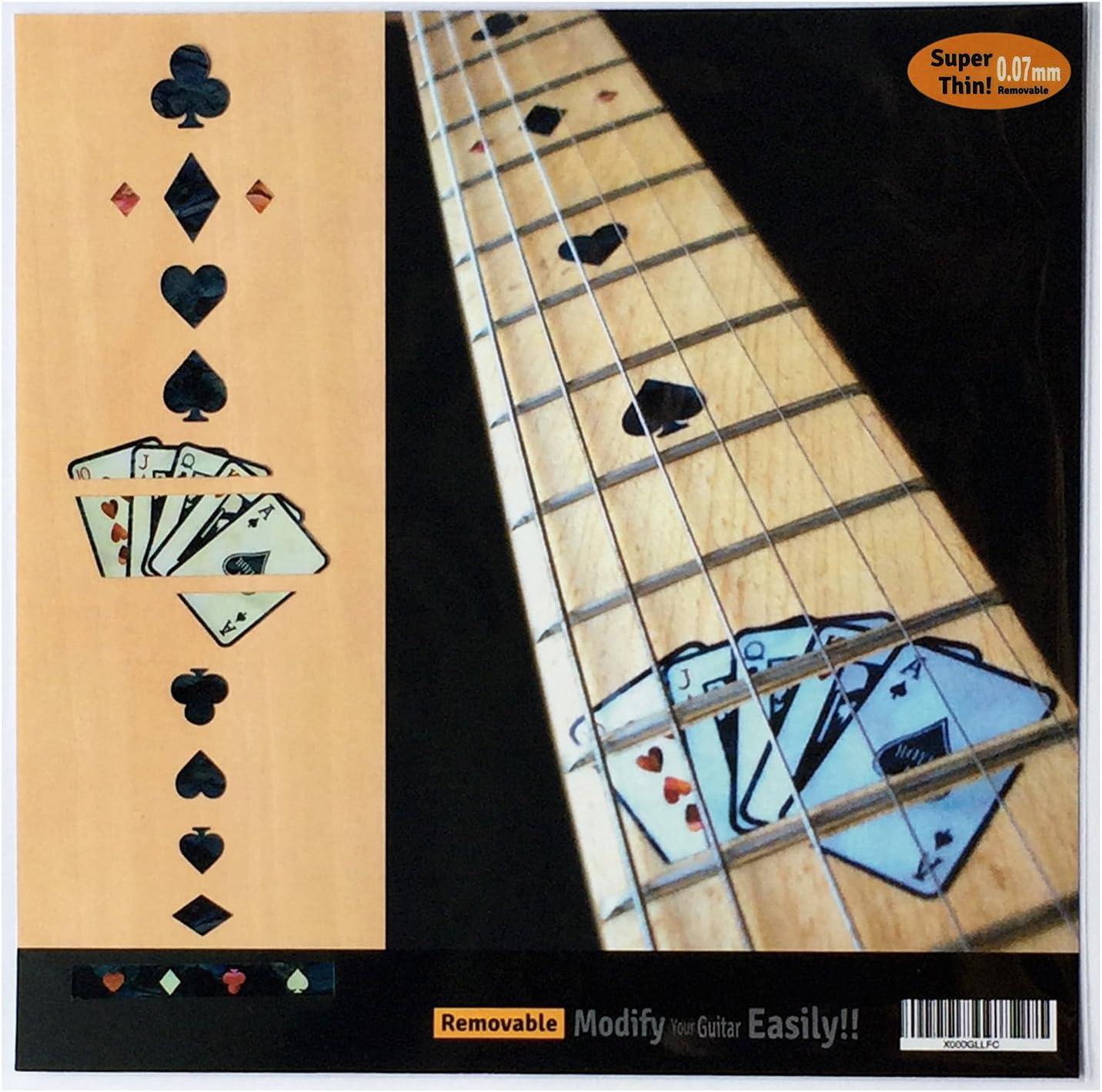 Inlay Stickers Pegatinas para diapasón de guitarra, con motivo juego de cartas, color negro perla