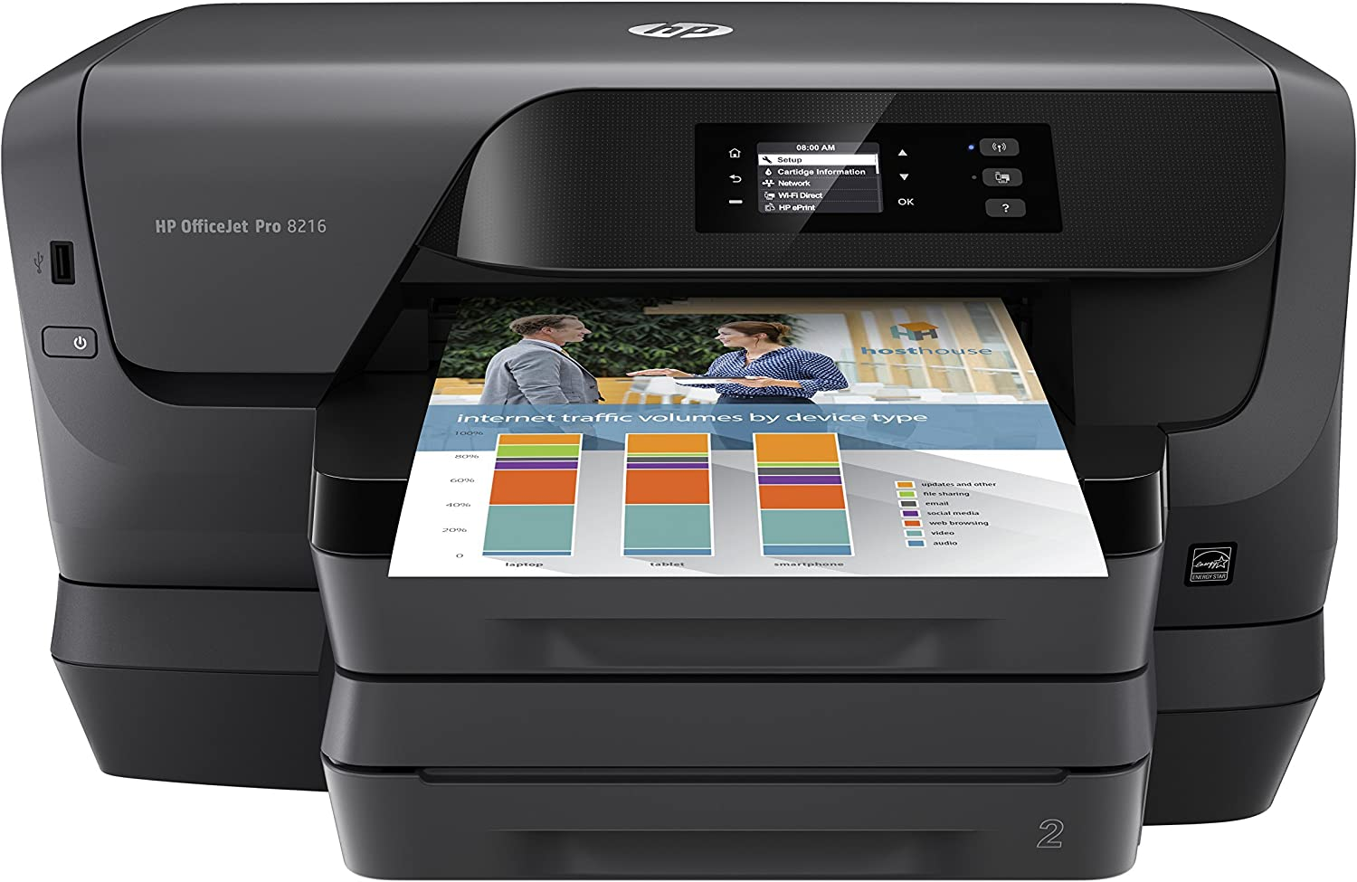 HP OfficeJet Pro 8216 Wireless Professional-Quality Color Printer with Mobile Printing, Instant Ink ready (Renewed)