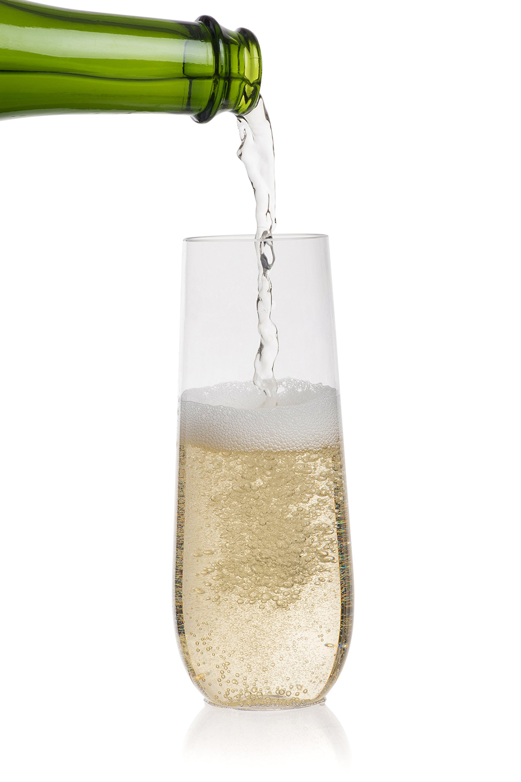 BEREVINO PLASTIC CHAMPAGNE FLUTES / CHAMPAGNE GLASSES | 9 Oz Stemless Champagne Flutes Set of 12 Clear Plastic Unbreakable Toasting Glasses, Disposable / Reusable Perfect for Wedding or Party