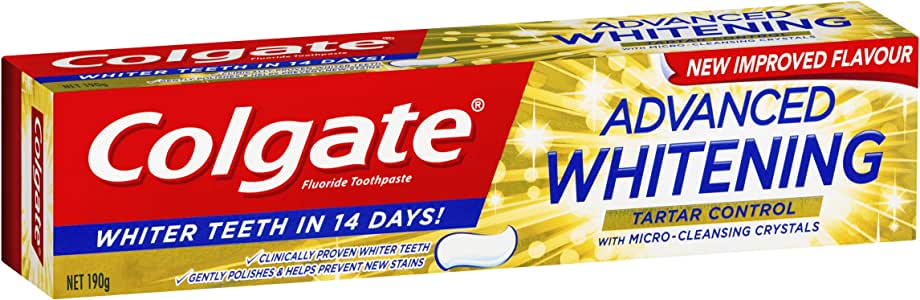 Colgate Advanced Whitening Tartar Control Toothpaste with microcleansing crystals, 190g
